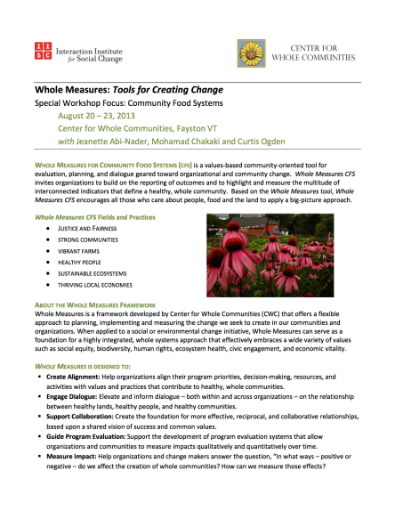 Whole Measures 2013 Flyer. Food Systems