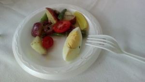 This is what she was demoing and selling at the other booth. Really nice version of Salad Nicoise, without the tuna.