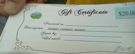"Athens OH gift certificate given to volunteers in mid morning to spend in their ""off"" time during the market day."